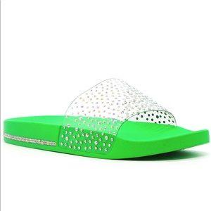 Green clear rhinestoned slide